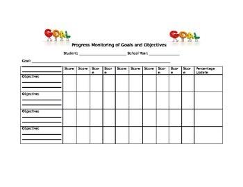 I.E.P. Goals and Objectives Progress Monitoring Form