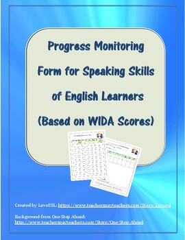 Progress Monitoring Form for Speaking Skills of ELs (Based on WIDA Scores)