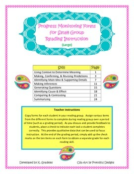 Progress Monitoring Forms for Small Group Reading Instruct