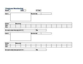 Progress Monitoring IEP Spread Sheet