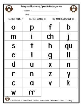 Progress Monitoring Letters in Spanish