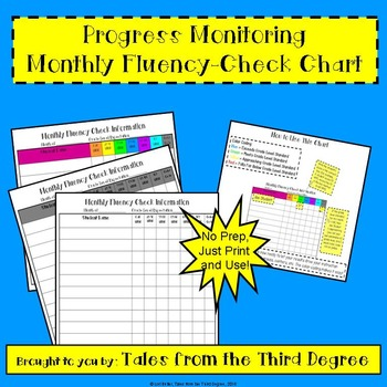 Progress Monitoring Monthly Fluency Chart