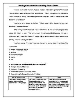 Progress Monitoring - Recalling Facts & Details (Grade 3)
