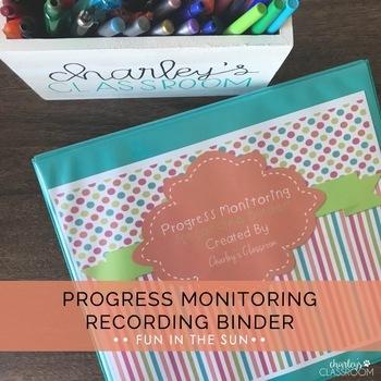 IEP Progress Monitoring Recording Binder (Fun in the Sun) | Special Education