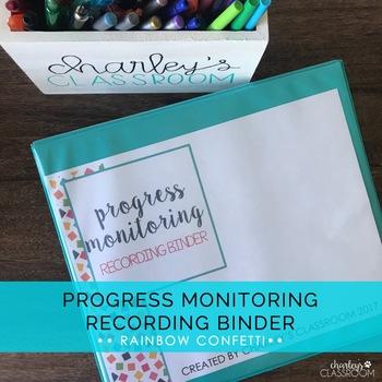 Progress Monitoring Recording Binder (Rainbow Confetti) | Special Education