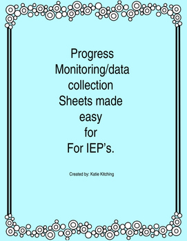 Progress Monitoring Sheet for Special Education