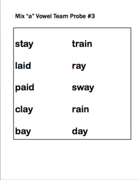 IEP and RTI Reading Progress Monitoring - Vowel Teams and Diphthongs