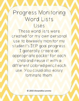 Progress Monitoring Word Lists: Letters, R-Controlled, Contractions, VCE, & more