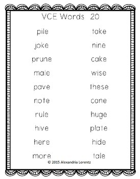 Progress Monitoring Word Lists Sample: R-Controlled, VCE, Digraphs, Diphthongs