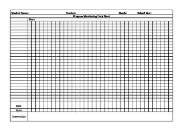 Progress Monitoring or RTI Data Sheet