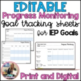 Progress Montoring Editable IEP Goal Tracking sheets for Special Education