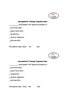 Progress Note, Occupational Therapy session