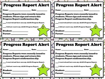 Progress Report Alert - Note for Parents  - King Virtue