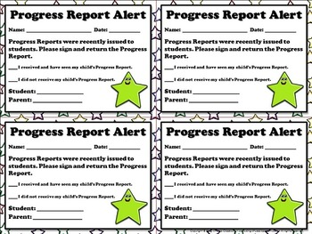 Progress Report Alert - Note for Parents  - King Virtue