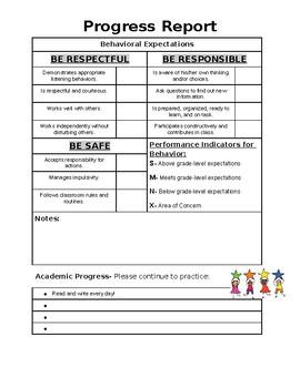 Progress Report - Behavior & Academic