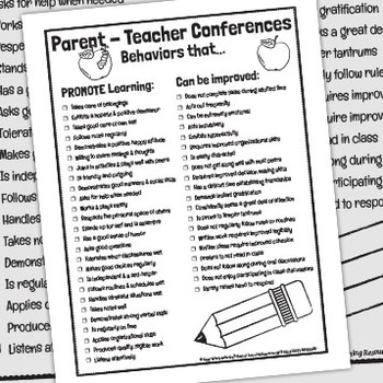 Progress Report Checklist - Behaviors that Promote Learning / Can Be Improved