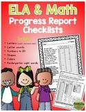Progress Report Checklists - ELA and Math