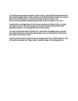 Progress Report Comments Preschool PreK