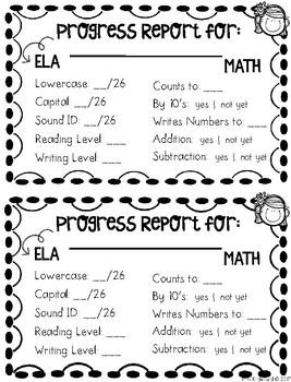 Progress Report For Little Learners