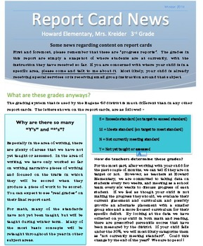 Progress Report Letter for parents