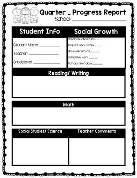 student progress report forms