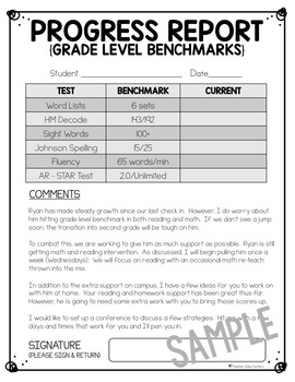 Progress report template freebie editable tpt for First grade progress report template