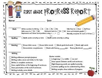 first grade progress report template progress report for first grade by sailing through 1st