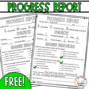 Progress Report for Parents