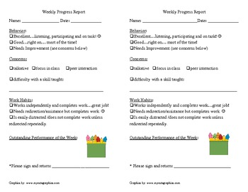 Progress Report for Primary Grades