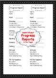 Editable Progress Reports, Progress Report Template Progress Reports for Parents
