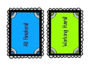 Progress Signal Squares // Classroom Management Cards