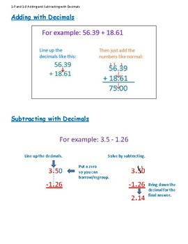 Progress in Math 1-7 and 1-8 Adding and Subtracting Decimals for Grade 3 to 6