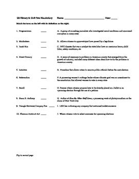 Progressive America Vocab Quiz/Test