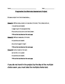 Progressive Era: Alternative Assessment / project