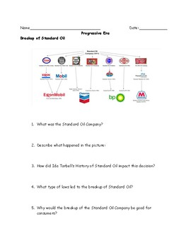 Progressive Era Breakup of Standard Oil Worksheet and Answer Key