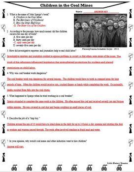 Progressive Era - Children in the Coal Mines Primary Source Reading Passage