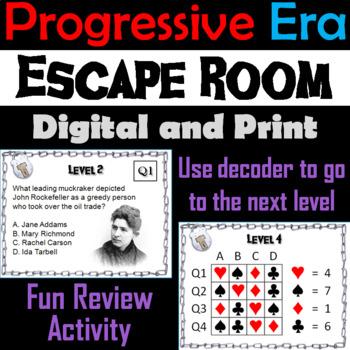 Progressive Era Escape Room - Social Studies