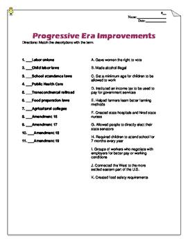 Progressive Era Improvements: Reform Matching