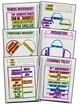 Progressive Era Interactive Notebook & Graphic Organizers