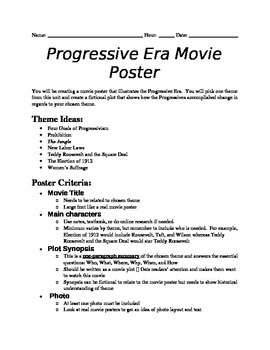 Progressive Era Movie Poster Project By The History Teacher S Toolbox