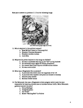 Progressive Era: Multiple Choice Exam (with answer key)