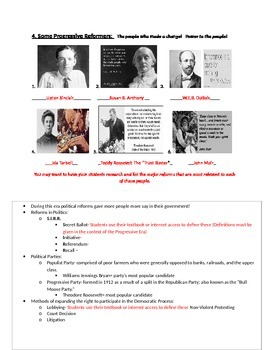 Progressive Era Picture Notes (with Key) Part 4 of 4