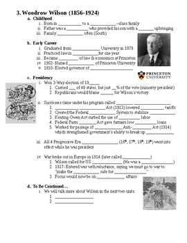 Progressive Era Presidents Guided PowerPoint Lecture