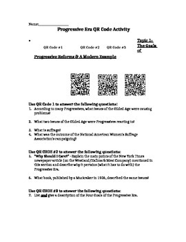 Progressive Era QR Code Activity