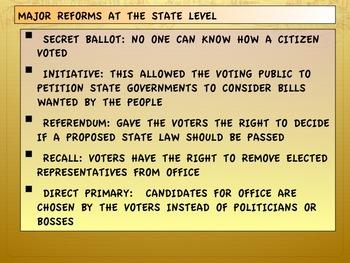 Progressive Era-Reforms at the State and Local Level