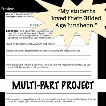 Progressive Era and Gilded Age Research Project and Role Play