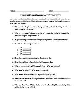 Progressive Era: Short Answer worksheet
