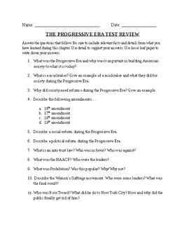 Progressive Era: Short answer review sheet