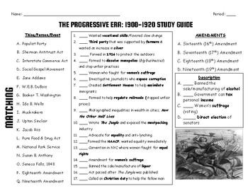 Progressive Era Study Guide