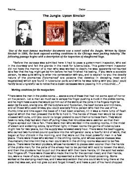 Progressive Era: The Jungle by Upton Sinclair reading and questions